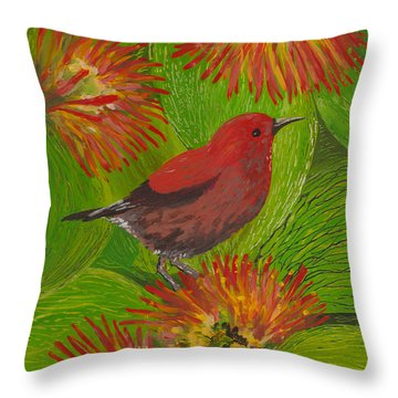 Throw Pillow featuring the painting 'apapane by Anna Skaradzinska