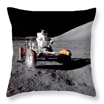 Apollo 17 Moon Rover Ride Throw Pillow by Movie Poster Prints