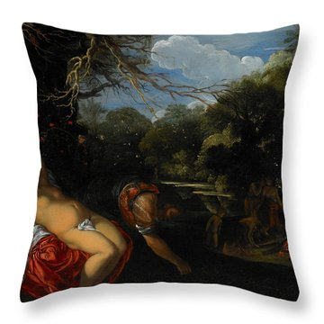 Apollo And Coronis Throw Pillow by Adam Elsheimer