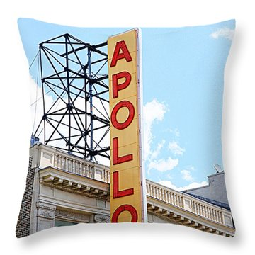 Apollo Theater Sign Throw Pillow by Valentino Visentini