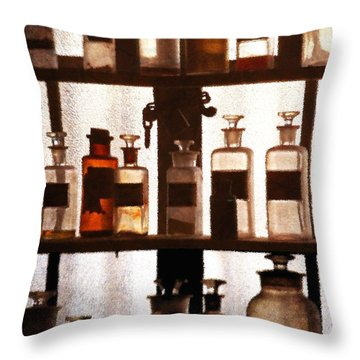 Apothecary 3 Throw Pillow by Timothy Bulone