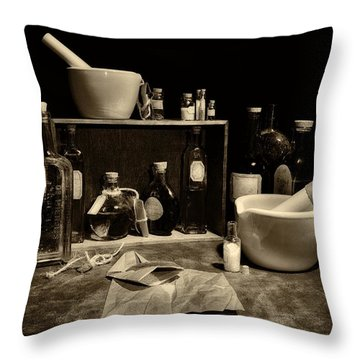 Apothecary Sepia Throw Pillow