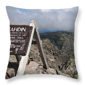 Appalachian Trail Mount Katahdin Throw Pillow