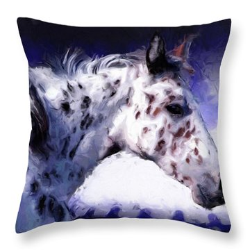 Appaloosa Pony Throw Pillow by Roger D Hale