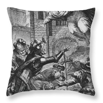 Apparition Of St Louis To Henri Iv Throw Pillow