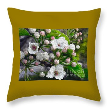Throw Pillow featuring the photograph Apple Blossoms In Oil by Nina Silver