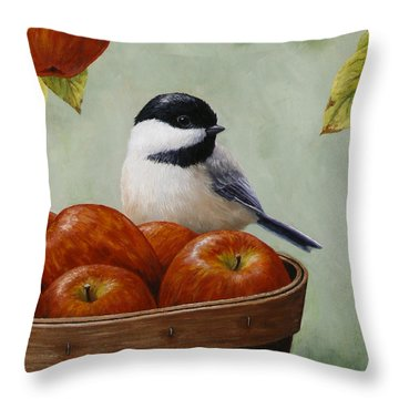 Apple Chickadee Greeting Card 1 Throw Pillow by Crista Forest