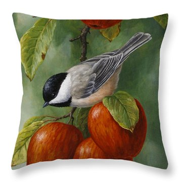 Apple Chickadee Greeting Card 3 Throw Pillow