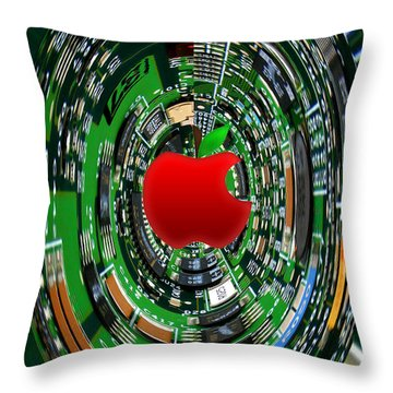 Apple Computer Abstract Throw Pillow by Sandi OReilly