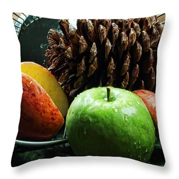 Apple Delight Throw Pillow by Camille Lopez