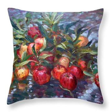 Apple Harvest At Violas Garden Throw Pillow
