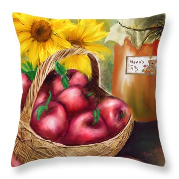 Throw Pillow featuring the digital art Apple Harvest by Mary Almond