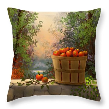 Apple Harvest Throw Pillow by Sena Wilson
