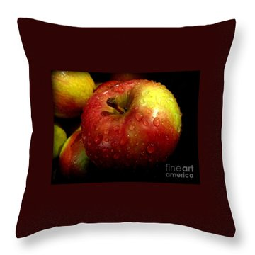Apple In The Rain Throw Pillow by Miriam Danar