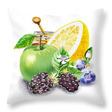 Apple Orange And Berries Throw Pillow