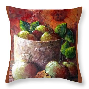 Throw Pillow featuring the painting Apple Picking Time by Megan Walsh