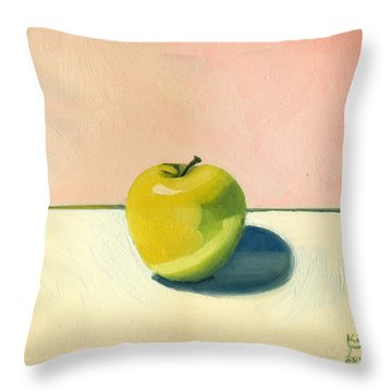 Apple - Pink And White Throw Pillow