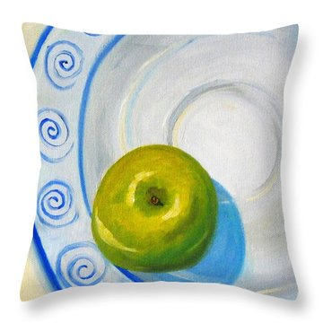 Apple Plate Throw Pillow by Nancy Merkle