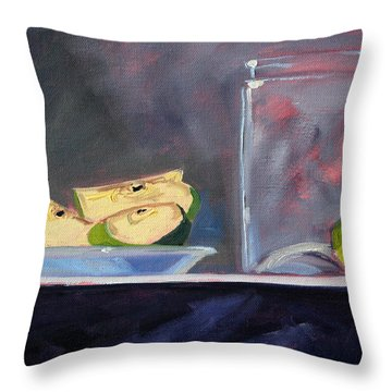 Apple Snack Throw Pillow by Nancy Merkle
