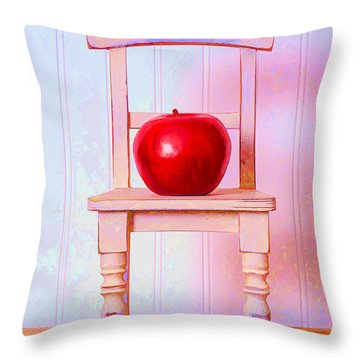Apple Still Life With Doll Chair Throw Pillow by Edward Fielding