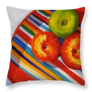 Apple Stripe Throw Pillow by Nancy Merkle