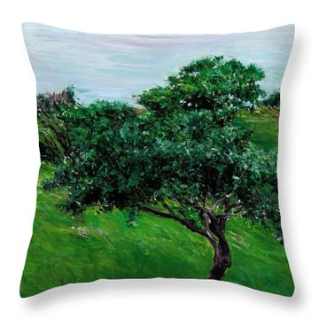 Apple Trees By The Sea Trouville Throw Pillow by Gustave Caillebotte