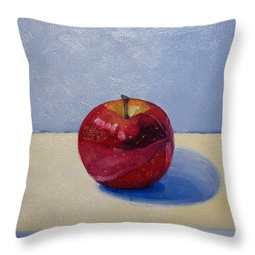 Apple - White And Blue. Throw Pillow by Katherine Miller