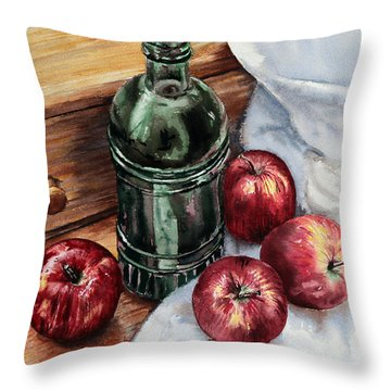 Throw Pillow featuring the painting Apples And A Bottle Of Liqueur by Joey Agbayani