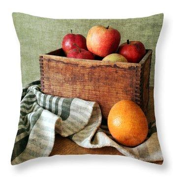 Apples And An Orange Still Life Throw Pillow