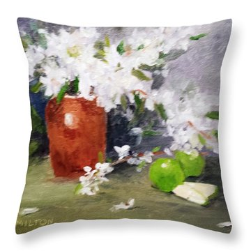 Apples And Blossoms Throw Pillow by Larry Hamilton