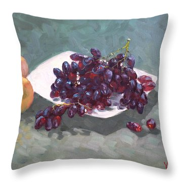 Apples And Grapes Throw Pillow by Ylli Haruni