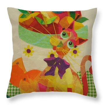 Throw Pillow featuring the mixed media Apples And Jackie by Diane Miller