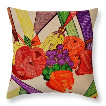 Apples And Oranges Throw Pillow by Celeste Manning