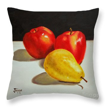 Throw Pillow featuring the painting Apples And Pear by Jimmie Bartlett