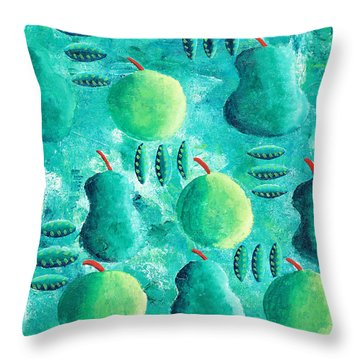 Apples And Pears Throw Pillow by Julie Nicholls