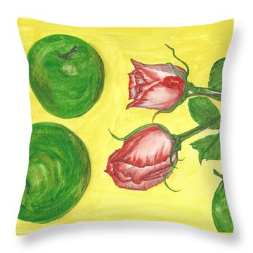 Apples And Roses Throw Pillow