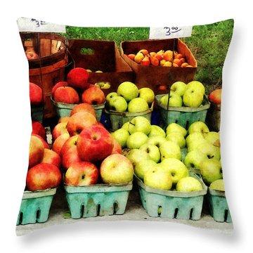Apples At Farmer's Market Throw Pillow by Susan Savad