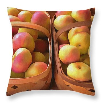 Apples For Sale Throw Pillow by Marion Johnson