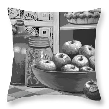 Throw Pillow featuring the digital art Apples Four Ways by Carol Jacobs