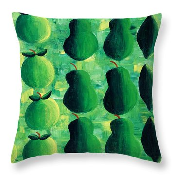 Apples Pears And Limes Throw Pillow by Julie Nicholls