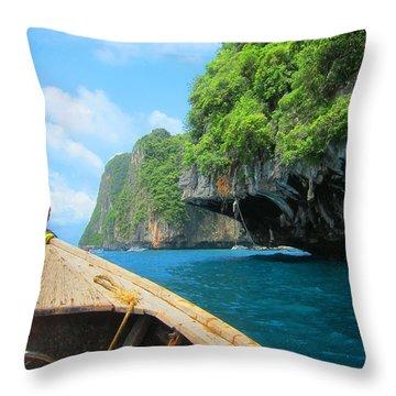 Approach To Ko Phi Phi Lee Throw Pillow