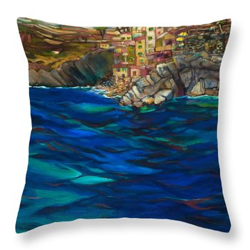 Approach To Riomaggiore Throw Pillow by Jen Norton