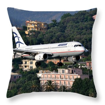 Approaching Corfu Airport Throw Pillow