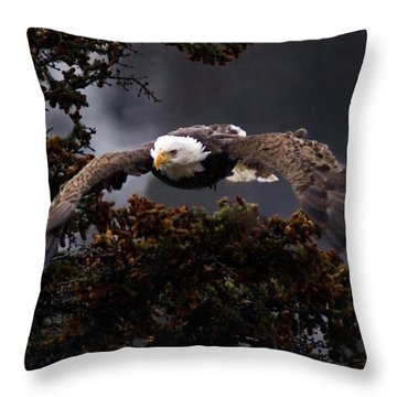 Approaching Eagle-signed- Throw Pillow by J L Woody Wooden