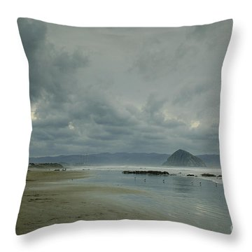 Approaching Storm - Morro Rock Throw Pillow