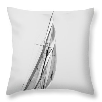 A Tall Ship In Mediterranean Water Approaching To Lighthouse Of Isla Del Aire - Menorca Throw Pillow