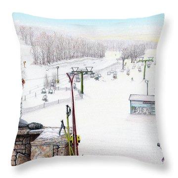 Apres-ski At Hidden Valley Throw Pillow by Albert Puskaric