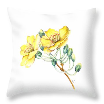 Apricot Blossom Throw Pillow by Dion Dior