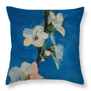 Apricot Blossom Throw Pillow by Michael Creese