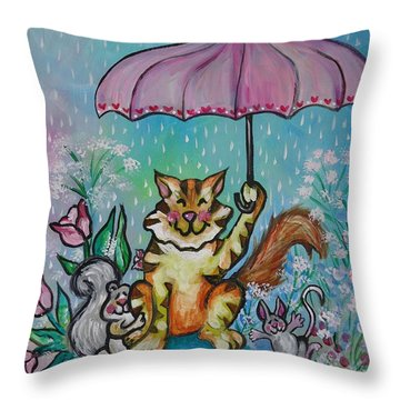 April Showers Throw Pillow by Leslie Manley